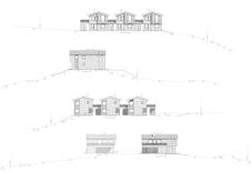 Fasadetegninger for hus A, B og C.