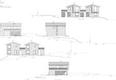 Fasadetegninger for hus D og E. Illustrasjon.