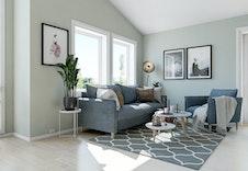 Hus D og E: Lys og luftig stue med store vindusflater. Illustrasjon.