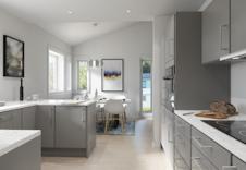 Hus F: Praktisk kjøkken med mye benkeplass. Illustrasjon.