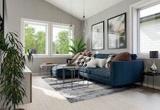 Hus A, B og C: Lys og luftig stue med store vindusflater. Illustrasjon.