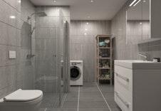 Hus D og E: Kombinert bad og vaskerom med fliser på vegg og gulv. Illustrasjon.