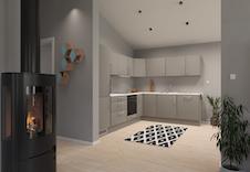 Hus A, B og C: Husets hjerte - et romslig kjøkken med mange løsninger. Illustrasjon.