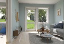 Hus A, B og C: Som alternativ planløsning kan soverom 3 gjøres om til ekstra stue med direkte utgang til hage. Illustrasjon.