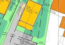 Illustrasjonsplan som viser husets plassering på tomten