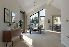 Lys og romslig stue i 1.etg. Bildet er en illustrasjon som vil avvike fra virkelig miljø og omgivelser.