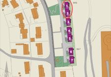 Situasjonsplan og plassering av boligene.