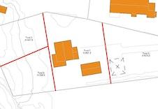Tomtedelingsplan som viser de tre nye tomtene