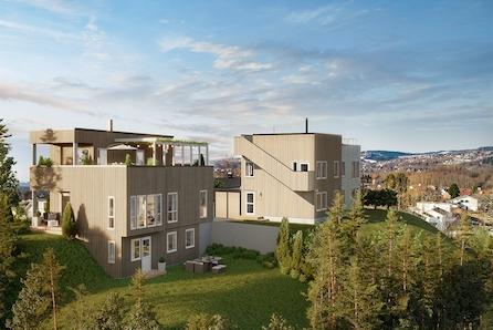 Stubban - Moderne enebolig med spektakulær solrik utsikt over Trondheim by, stor takterasse.