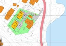 Illustrasjonsplan som viser tomtegrenser og plassering av foreslåtte hus på tomtene.