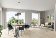 Åpen stue kjøkken løsning med store vinduer som slipper inn mye lys. Illustrasjon