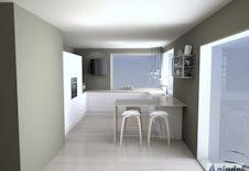 Kjøkken fra Sigdal, med hvite slette fronter. Illustrasjon