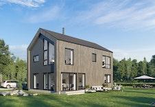 Illustrasjon av boligens fasade, med utgang til en solrik uteplass.