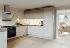 Kjøkkenet kan innredes etter eget ønske. Bildet er en illustrasjon og vil avvike fra virkelig miljø og omgivelser.