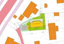 Illustrasjonsplan som viser tomannsboligens plassering på tomta, parkering og utomhusareal.