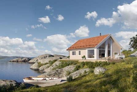 LAKSÅVIKA -Flott Kvarstad med to soverom og hems. Flott utsiktstomt over Trondheimsfjorden.