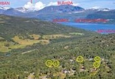 Viser her hyttefeltet og noen av turmålene i nærområdet