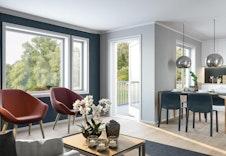 Hjertet i disse leilighetene er det meget luftige og flotte kjøkken- og stueområdet. Her har du god plass til å samle familie og venner til middag.