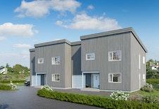 Saxeborgvegen 2, viser fremsiden av boligen med egen garasje.  Bildene er illustrasjoner som vil kunne avvike fra ferdig bolig