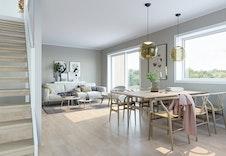 Stor stue med mye lys!  Bildene er illustrasjoner som vil kunne avvike fra ferdig bolig.  Bildene er illustrasjoner som vil kunne avvike fra ferdig bolig