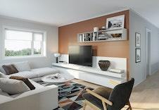 En praktisk loftstue der man kan trekke seg tilbake med en bok eller se på TV.  Bildene er illustrasjoner som vil kunne avvike fra ferdig bolig