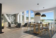 Nysetra (illustrasjonsbilde) Stue og kjøkken med pannoramautsikt  til fjellheimen, Meråker og alpinbakken