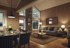 Midthø (illustrasjon) Stue og kjøkken. Se også 3D VR visning i annonsen