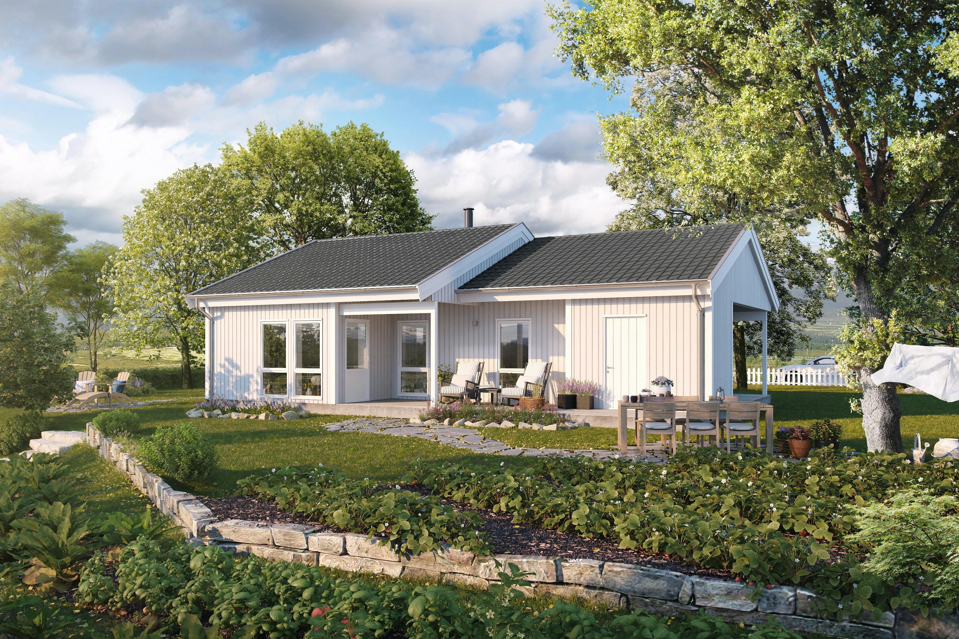 Lugo er et smart vinkelhus på ett plan, tilpasset alle livets faser. Landlig beliggenhet og flott utsikt.