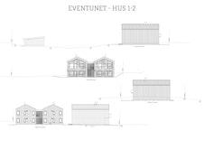 Fasader for byggetrinn 1 - boliger med uteareal plassert mot sørøst.