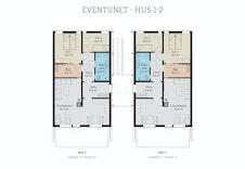 Planløsning for seksjon 3 og 4 i 2. etasje