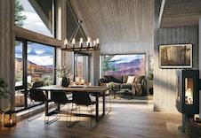 Stue og kjøkken med store vinduer der utsikten til Trollheimen kan nytes. Konsept V2. Bildet er en illustrasjon som vil avvike fra virkelig miljø og omgivelser.