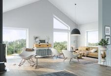 Illustrasjon av stue med ekstra god takhøyde