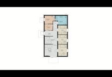 Planløsning 1 etg med 3 sov, bad/vask, kjekk tv stue og stor sportsbod med gjennomgang til garderobe.