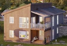 Illustrasjon av bolig. I Tordivelveien 32 er balkongen forlenget og carport plassert under.