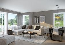 Romslig stue kombinert med kjøkken. Gir fleksible møbleringsmuligheter. (Illustrasjon - virkelig stue vil avvike fra bildet)