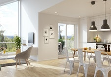 Selve sjelen i hytten er det sosiale kjøkken- og stueområdet. Her har du plass til storinnrykk av store og små!