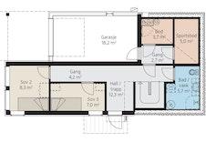 Berga har også integrert garasje med direkte adkomst til huset. Herlig å kunne komme tørrskodd frem!
