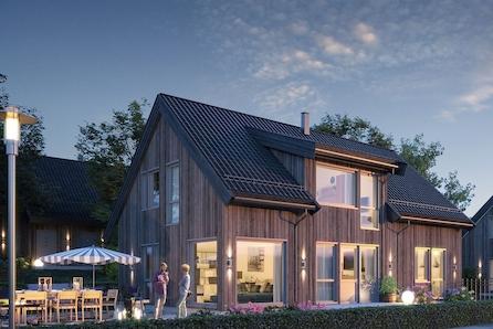 Prosjektert enebolig på solrik selveiertomt på mosebyneset - 4 sov, 2 bad, bod og loftstue. Livsløpstandard