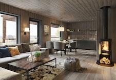 Stue og kjøkken i leilighet med 3 soverom. Store vinduer og åpne kjøkken/stue-løsning. Her kan du ta morgenkaffen på overbygd balkong, og nyte utsikten. (illustrasjon)