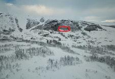 Rindabotn og Fosskamben, Hodlekve Panorama merka med raud sirkel.