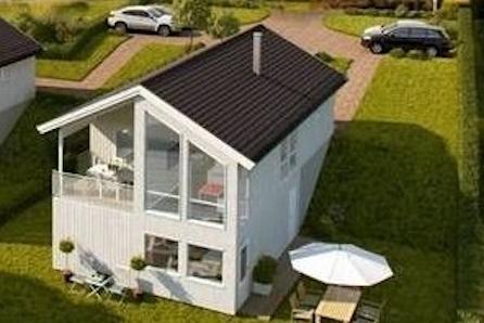 Prosjektert einebustad på Ådland. Flott utsikt og gode solforhold.