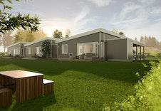 Moderne boliger med store vindusflater og nydelig utsikt.  Bildene er illustrasjoner som vil avvike fra virkelig miljø og omgivelser.