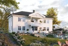 Fagerli har en klassisk og vakker fasade (illustrasjon kan avvike fra virkelig miljø og omgivelser).
