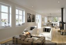 Åpen løsning mellom stue og kjøkken (illustrasjon kan avvike fra virkelig miljø og omgivelser).