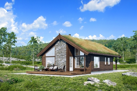 Moderne familiehytte plassert i Jakobsåsen ved Røros. - Prosjektert råbygg.