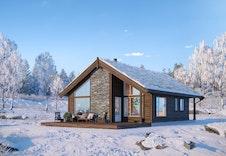 Gråhø med hems - dette er kun en illustrasjon av en tenkt hytte på tomten. Illustrasjonen vil vike fra virkeligheten og gjengir ikke korrekt tomt og beliggenhet.