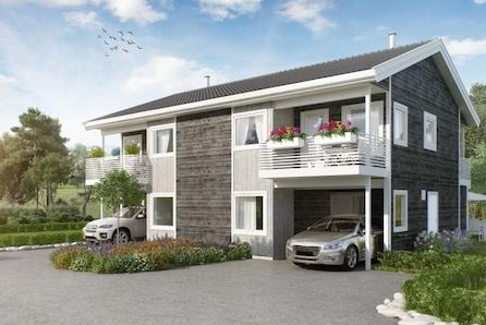 ½-part av tomannsbustad på Haga med solrik plassering,  to terrassar, carport
