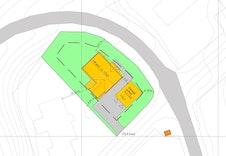 Forslag til plassering av hus og frittstående garasje
