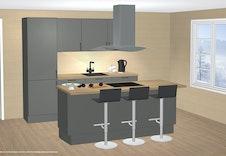 Illustrasjon: Aubo kjøken, inkl. alle kvitevarer og montering.
