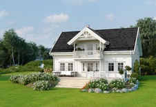 Kongsheim (illustrasjon)  Utvidet terrasse, trapper, beplantning med mer, er ment som inspirasjon til opparbeiding av hage.